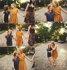 These colors for the girls for sure! Navy and mustard dresses IF they will wear dresses - since your dress is so loud print we need to tone it down with the kids clothes.