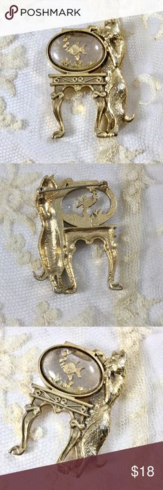 Vintage 1928 Jewelry Cat and Fish Bowl  Brooch 1970s Signed 1928 Jewelry gold tone  cat looking into 3D lucite fish bowl with goldfish, bubbles, and coral.  Too cute!!! 1928 Jewelry Jewelry Brooches