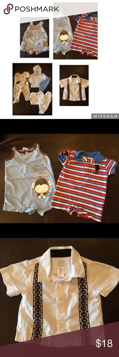 Baby Boy Bundle 0-3 month Baby Boy Bundle 0-3 month clothes. 1 overalls, 1 sleeper footie pajamas, 2 long-sleeved shirt and pant sets, 1 button-down shirt, 2 rompers Other