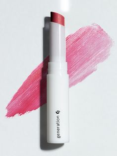 Glossier Generation G in Crush. Swipe onto naked lips—once or twice for a subtle wash of color; three or four swipes for more intense color payoff.  for 20% off:  http://bff.glossier.com/efOA6