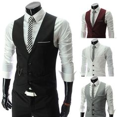 New Mens/boys Designed Formal Casual Slim Fit V-neck Waistcoat Sleeveless Jacke