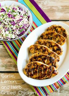 Garlic, Lemon, and Herb Grilled Chicken Breasts have been a hit with guests all summer long! [from KalynsKitchen.com] #LowCarb #GlutenFree #Paleo #SouthBeach