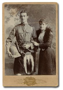 Soldiers of the Queen -Taken in November 1899 just prior to   his departure to South Africa, the   cabinet photograph at right depicts a young Lt. John Raymond Evelyn Stansfeld of the 2/Gordon Highlanders with a   female relation