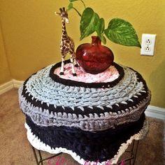 Stool upcycled with #crochet from daniellajoe