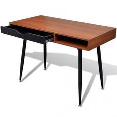 Brown Office Workstation Vintage Computer Desk Table Laptop Home StudyFurniture