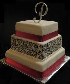 damask square wedding cake image