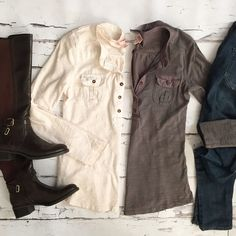 Bundle of Henleys Great basic Henley tees in cream and gray. Mossimo Supply Co Tops Tees - Long Sleeve