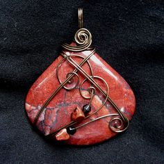 Red Picture Jasper Antique Brass Wire Wrapped Pendant Necklace by Care More, via Flickr