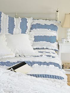 Country Blue Gingham Linens.