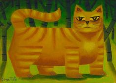 One Yellow Cat by Graham Knuttel Limited Edition Yellow Cat, Throwback Thursday, Wild Life, Cat Art, Painting Inspiration, Lorem Ipsum, Graham, Sculptures, Gallery