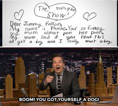 The Tonight Show Starring Jimmy Fallon Page Liked · March 3 ·     Jimmy takes a little time to reply to letters sent in by some of our younger viewers...  WATCH: https://www.youtube.com/watch?v=Xx7HNtvIWOU