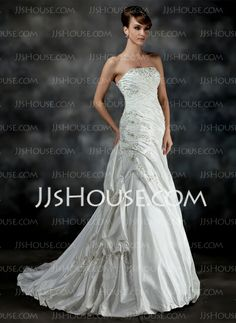Wedding Dresses - $198.69 - A-Line/Princess Strapless Court Train Taffeta Wedding Dress With Ruffle Beadwork (002017200) http://jjshouse.com/A-Line-Princess-Strapless-Court-Train-Taffeta-Wedding-Dress-With-Ruffle-Beadwork-002017200-g17200