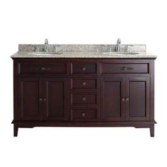 OVE Decors Dustin 60 in. W x 21 in. D Vanity in Tobacco with Granite Vanity Top in Sandy Speckle with White Basin