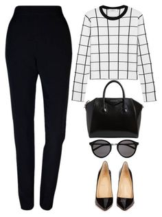 Women's fashion featuring Plakinger, Valentino, Christian Louboutin, Givenchy and Yves Saint Laurent Office Fashion Women, Womens Fashion For Work, Work Fashion, Looks Chic, Looks Style, Business Outfits, Business Fashion, Business Casual, Work Casual
