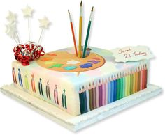 I think I've got a great theme for my daughter---she's an artist & I love this cake idea.