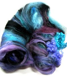 Aurora Wild Card Bling Batt for spinning and felting by yarnwench, $34.00