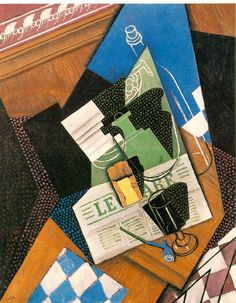 Water bottle, Bottle, and Fruit dish, 1915, by Juan Gris