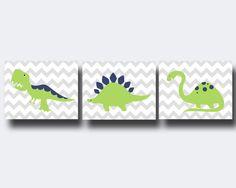 Dinosaur Nursery Art Print Chevron, Green and Navy Dinosaur Baby Art Print and Nursery Wall Art Prints Baby Boy Room Decor N441,442,443 on Etsy, $17.16