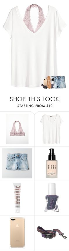 """bralettes & v-necks"" by madelinelurene ❤ liked on Polyvore featuring Free People, H&M, American Eagle Outfitters, Bobbi Brown Cosmetics, MILK MAKEUP, Essie and Nly Shoes"