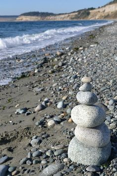 Cairns on the beach at Whidbey Island. From the Fall 2011 Creative Art Retreat hosted by http://joyguild.vpweb.com/Art-Camp-for-Big-Kids.html