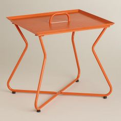 Orange Rectangular Metal Tray Table | World Market