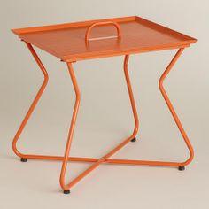 Orange Rectangular Metal Tray Table