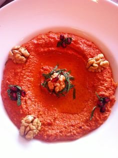 """Muhammara""- Lebanese Food. A sweet and spicy paste made of walnuts and red pepper. Eat with pita bread."