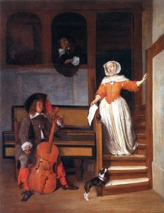 A Man Tuning a Violoncello and a Woman Descending the Stairs Gabriël Metsu - 1658-1660