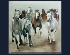 Running Arabian Horses #Creative #Art #Painting @touchtalent.com