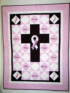 Cancer Quilt made for my hairdress who has triple negative breast and lung cancer.  She's been doing my hair for 15-20 yrs. (June 2013)