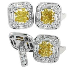 Platinum and 18 carat gold #NormanSilverman cufflinks set with 2 radiant yellow diamonds (10.35 CT) surrounded by 5 CT total weight of marquee, baguette and round diamonds
