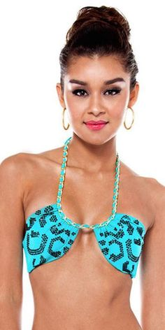 Retro Sexy Pin Up Bandeau Sequin Cheetah Detailed Chain Wrapped Tie Up Swimsuit Top