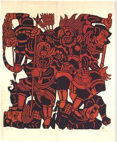 Four of the Twelve Benevolent Deities (Ajira, Anchira, Shotora and Shindara). Kappazuri (stencil print) by Mori Yoshitoshi. Stencil Printing, Stencil Art, Japanese Calligraphy, Calligraphy Art, Japanese Words, Modern Artwork, Deities, Asian Art, Painting Inspiration