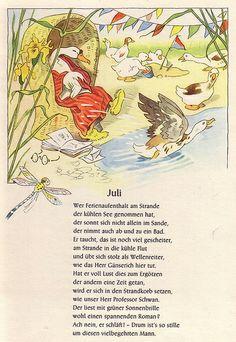 """Fritz Baumgarten (German, 1883-1966), illustrator. Juli. From """"Von den wunderlichen Leuten und den vier Jahreszeiten,"""" 1958."""