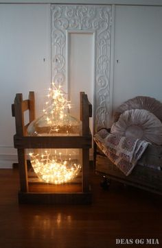 Vase decorated with fairy lights.. #fairylights