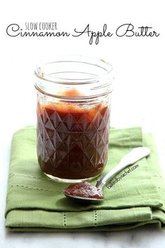 Slow Cooker Cinnamon Apple Butter Recipe by bakedbyrachel.com