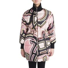 Emilio Pucci Printed Puffer Coat ($486) ❤ liked on Polyvore featuring outerwear, coats, apparel & accessories, blush monogram, puffer coat, pattern coat, emilio pucci, puffy coat and fur-lined coats