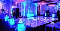 Wow! Love this blue setup and lighting at this #reception! Photo via #shopwildthings