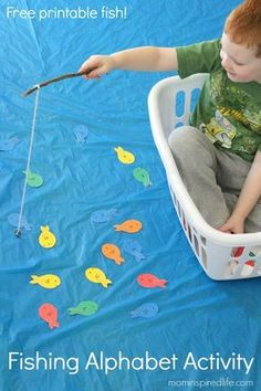 This fishing alphabet activity is such a fun way for kids to learn letters and letter sounds while participating in a fun pretend play activity. #alphabet #alphabetactivity #alphabetactivities #preschool #kindergarten #literacy