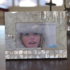 a winter whisper of selected stained glass colors hand crafted, 4x6, stained glass, mosaic frame like the icicles