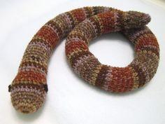 Crochet Snake Toy Door Draft Stopper Brown by crochetedbycharlene, $25.00