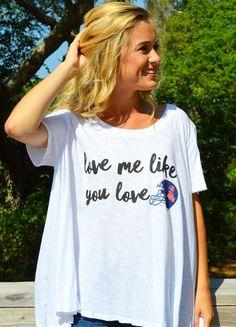 "Judith March University Of Mississippi - Flowy Tee W/ ""Love Me Like You Love Ole Miss Helmet"""
