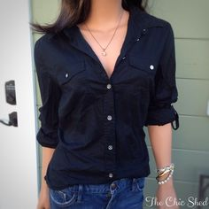 Michael Kors Black Cotton Military Button Down Top Classic and oh so essential! Great piece to dress up or down. Black cotton silver tone buttons. Pockets. Roll up and fasten sleeves. Like new condition. The Chic Shed; A Current and Classic Fashion Curation.  10% OFF BUNDLES I ❤️ THE OFFER BUTTON ❌NO PP, TRADES, HOLDS❌  15% OFF RETURN BUYER BUNDLES Michael Kors Tops Button Down Shirts