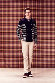 ac1ad1fbb7007 LOOK 32 Cardigan en lainage à double boutonnage « BRUXELS » Chemise en coton  gratté «
