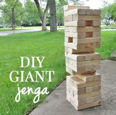 How to make giant DIY yard Jenga - this looks like so much fun! I cannot believe how easy this is to make, too!