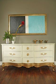 French Painted Furniture With Golden Legs
