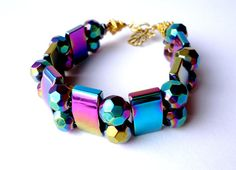 Multicolor bracelet. Metalic multicolor by Jewelry2Heart on Etsy