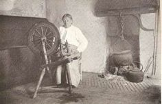 Woman spinning in Donegal  Ireland 1930s
