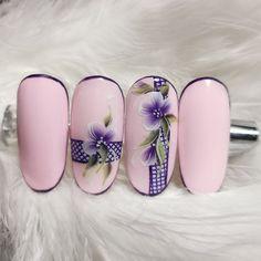 Diy Nail Designs, Simple Nail Art Designs, Acrylic Nail Designs, Short Nail Designs, Stiletto Nail Art, Pink Acrylic Nails, Purple Nails, Rose Nails, Flower Nails
