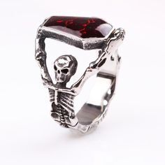 bef36b261e1 Vampire gothic skeleton coffin Ring with red crystal for sale